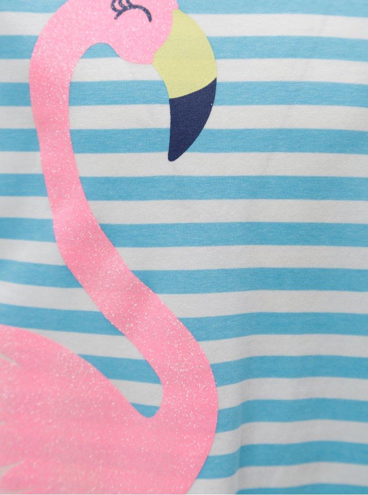 Modro-bílé holčičí pruhované šaty s třpytivým potiskem 5.10.15.