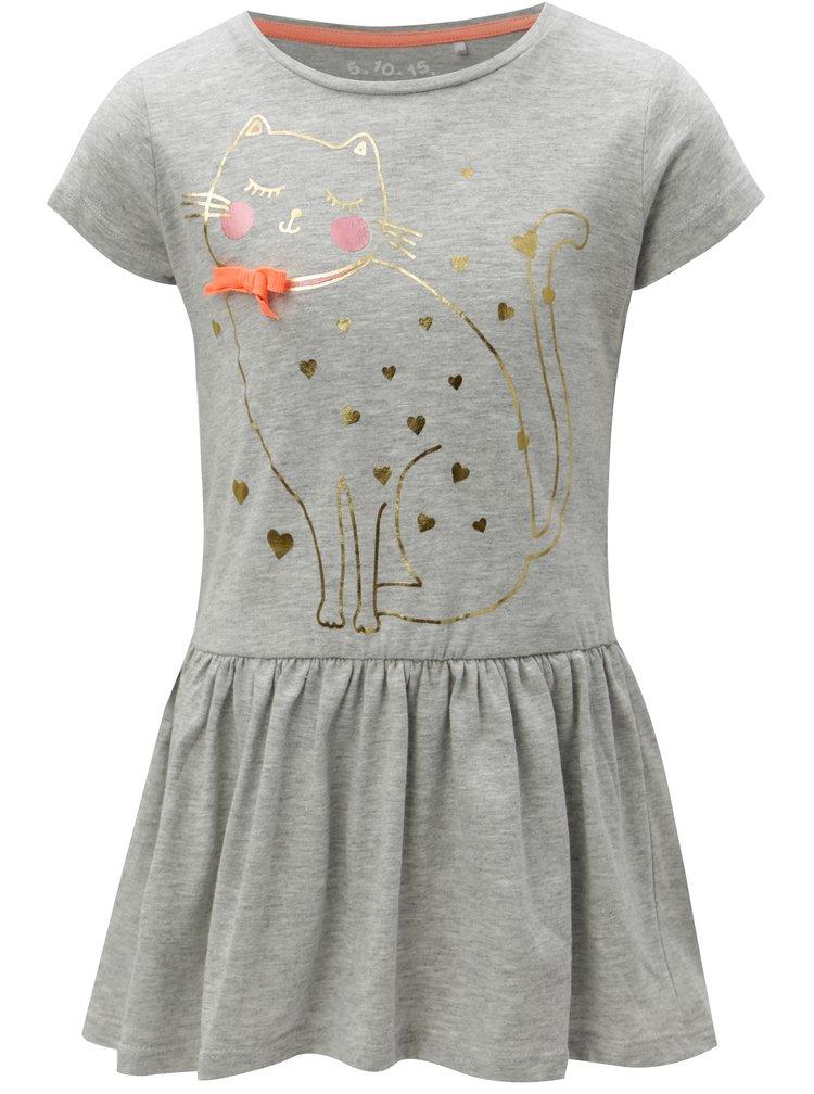 Šedé holčičí žíhané šaty s potiskem 5.10.15.