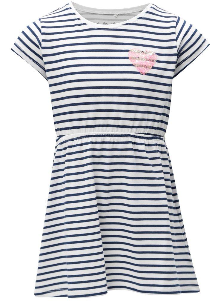 Modro-bílé holčičí šaty s flitry 5.10.15.