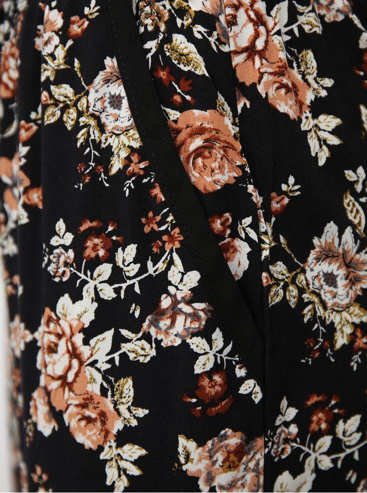Černé květované volné kalhoty s vysokým pasem Haily´s Ricky