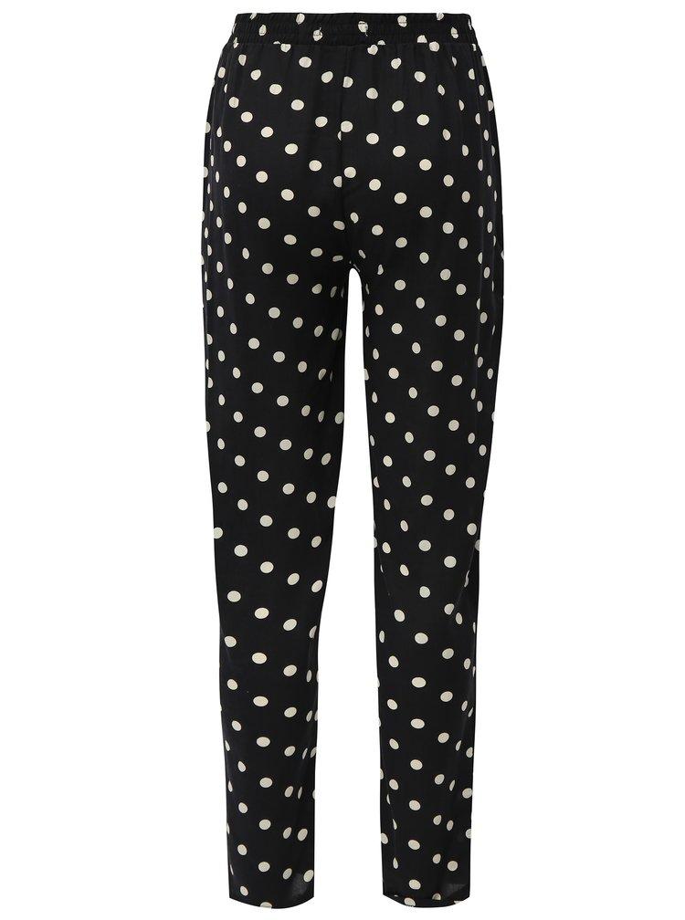 Černé puntíkované volné kalhoty s vysokým pasem Haily´s Ricky