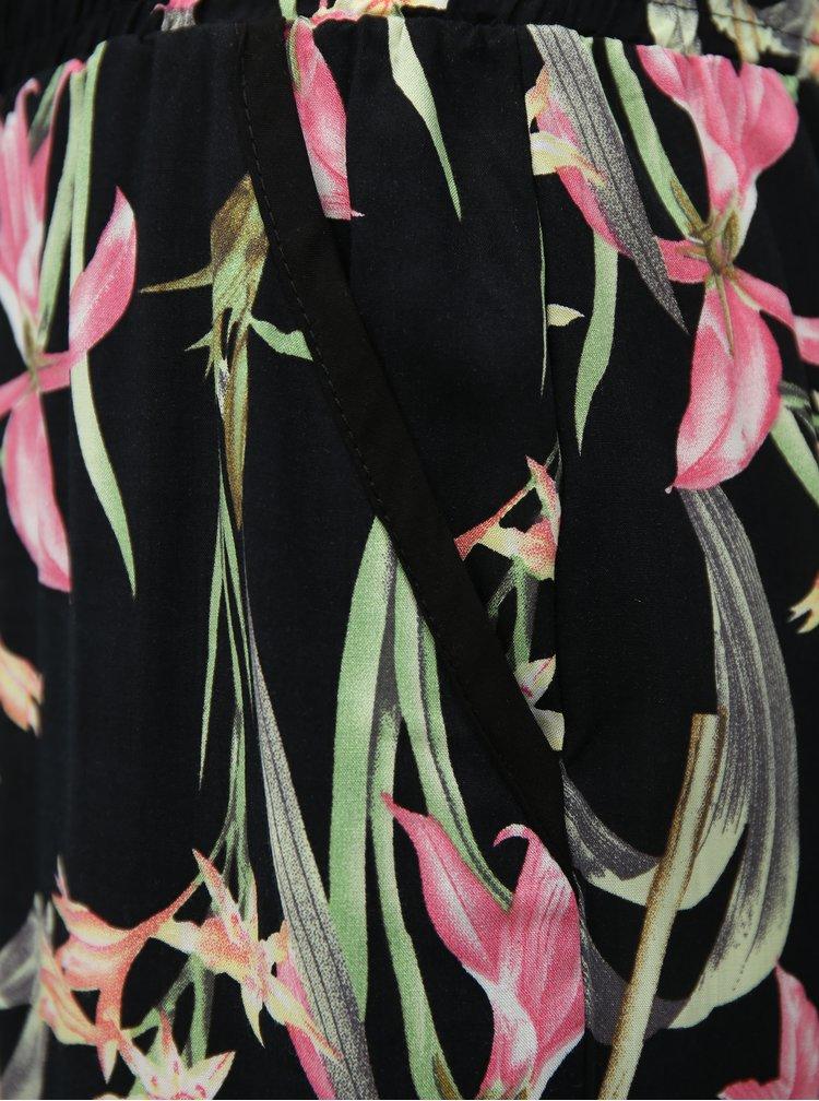 Růžovo-černé květované volné kalhoty s vysokým pasem Haily´s Ricky