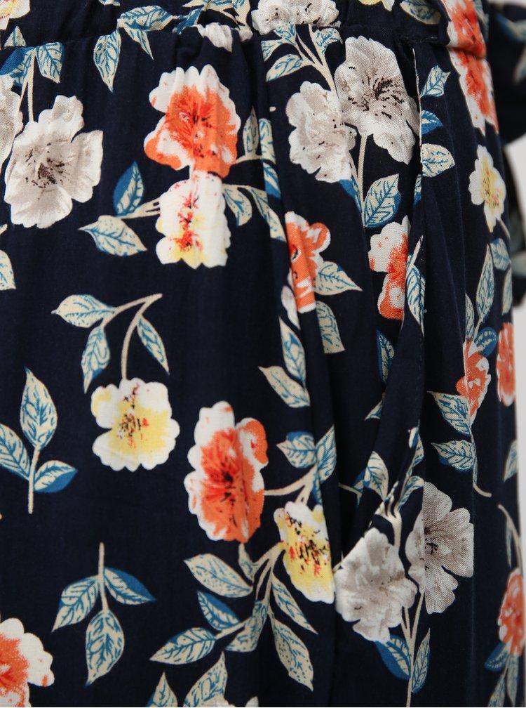Tmavě modré květované volné kalhoty se zavazováním Haily´s Ronja