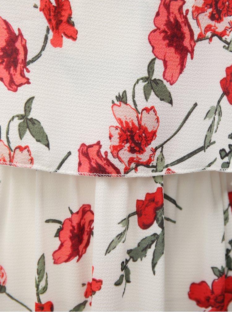 Bílé květované midišaty na ramínka Haily´s Fiona