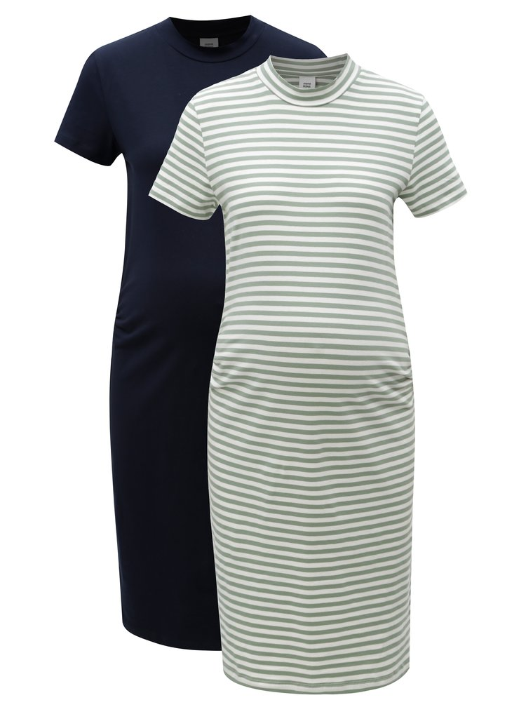 Sada dvou těhotenských šatů v modré a zelené barvě Mama.licious Lou