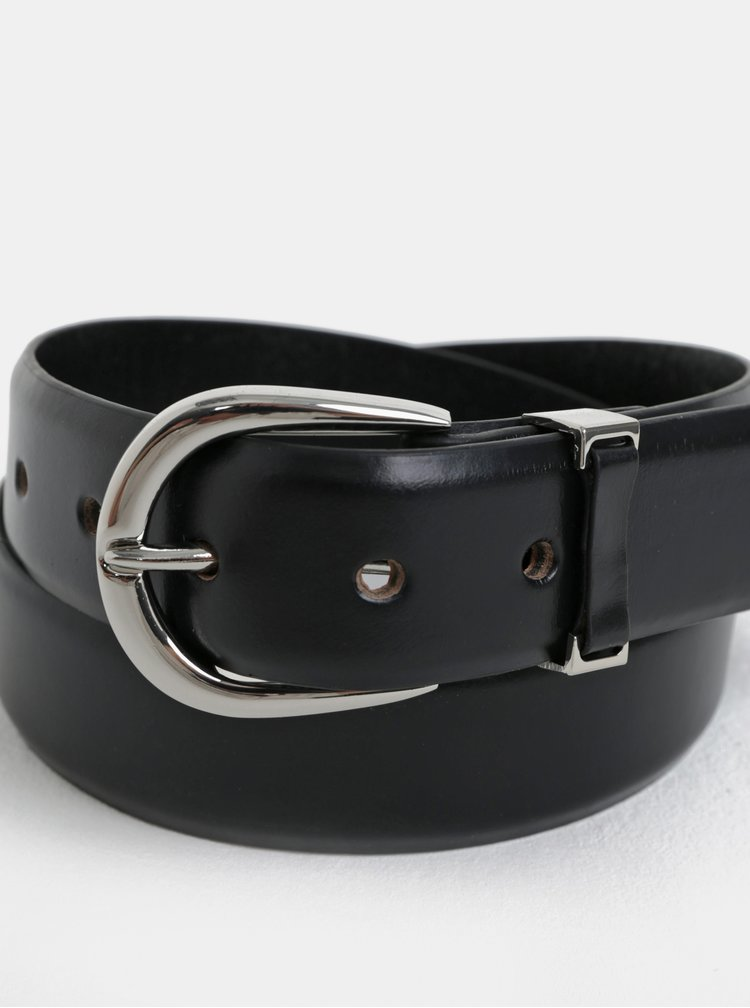 Černý kožený pásek Pieces Disa