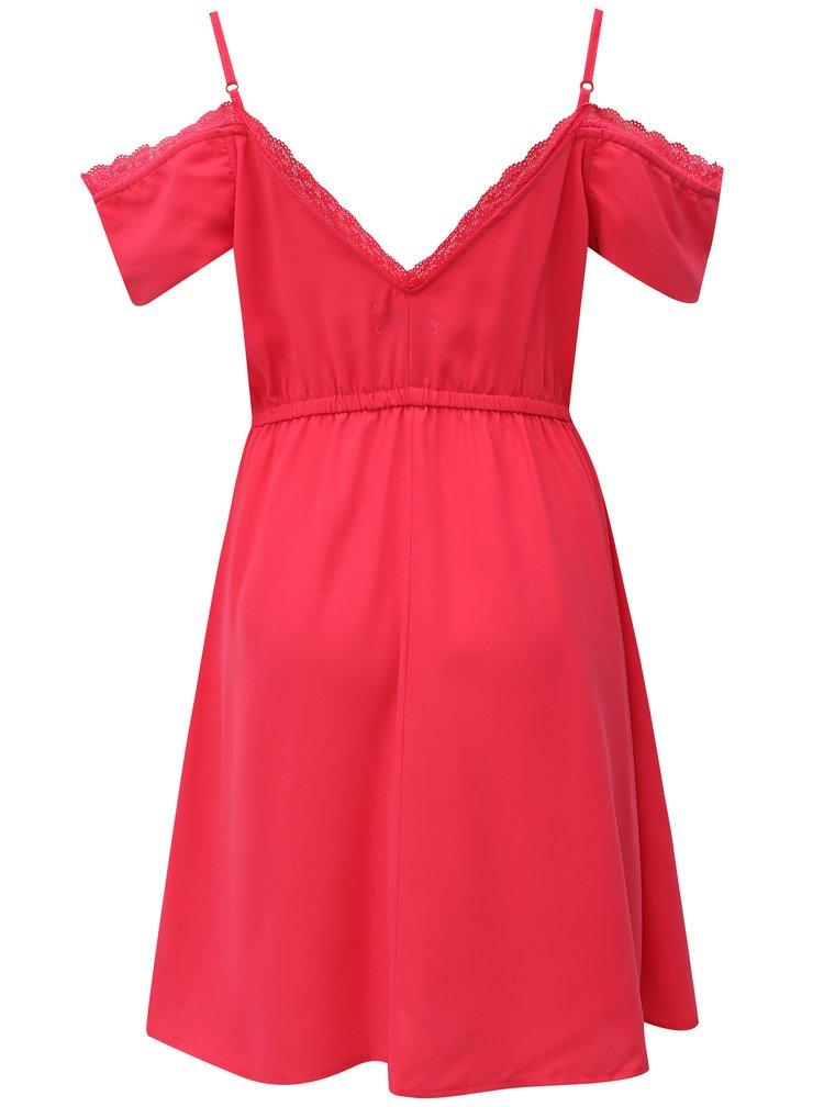 Tmavě růžové šaty s odhalenými rameny Haily´s Elea