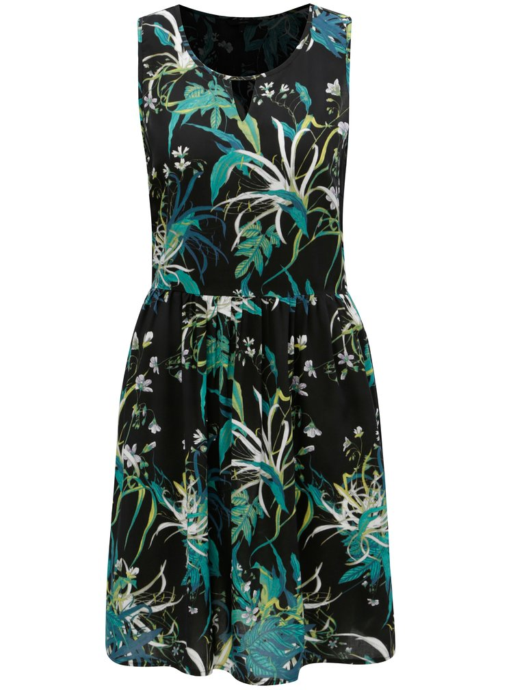 Zeleno-černé vzorované šaty s průstřihem v dekoltu VERO MODA Simply