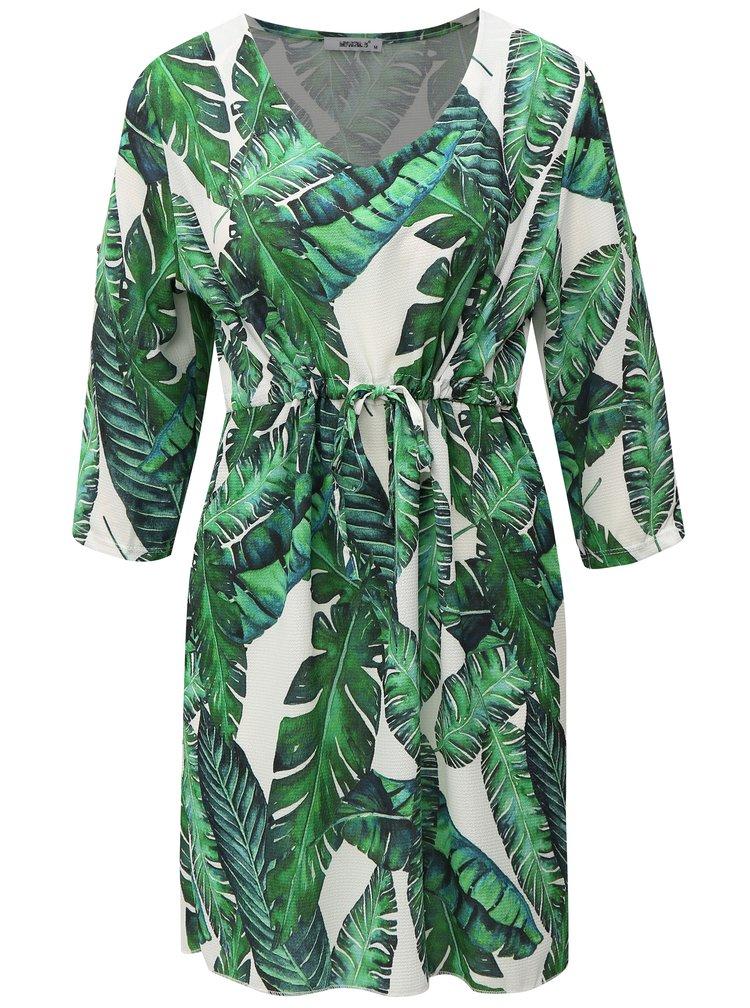 Bielo-zelené vzorované šaty s 3/4 rukávom
