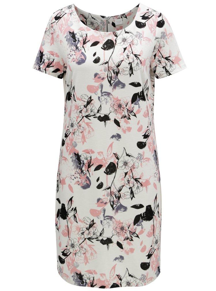 Růžovo-bílé květované šaty VILA Tinny
