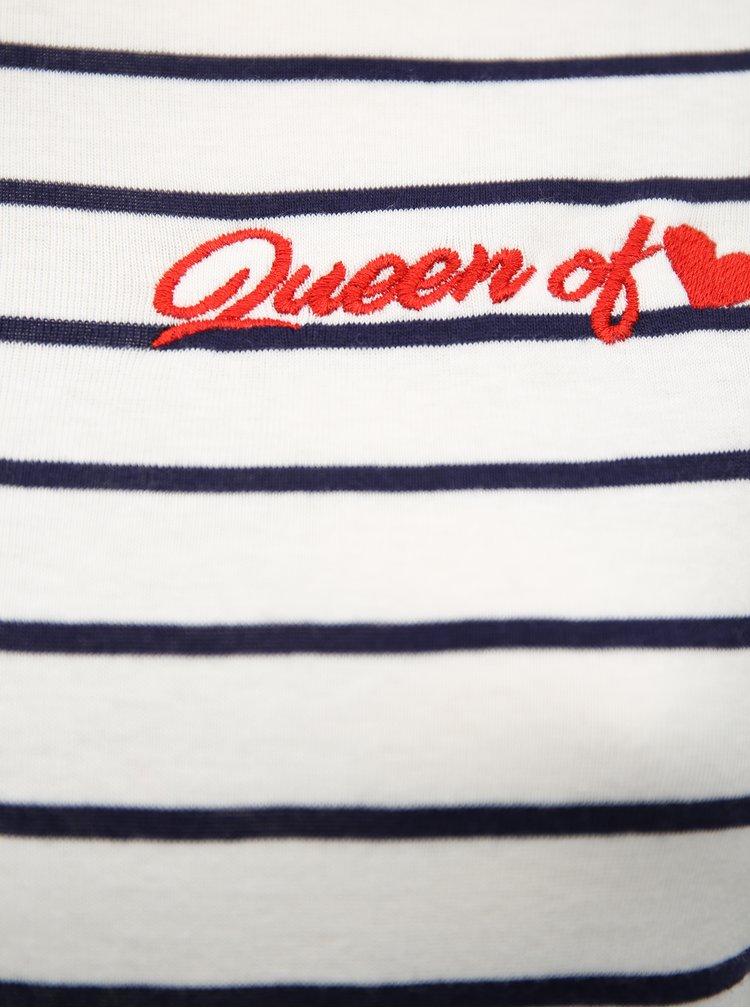 Modro-bílé pruhované tričko s výšivkou Dorothy Perkins Curve
