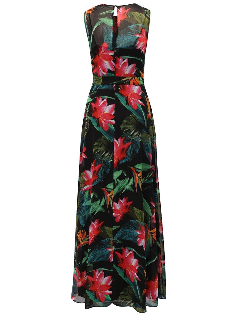Červeno-černé květované maxišaty s páskem Billie & Blossom