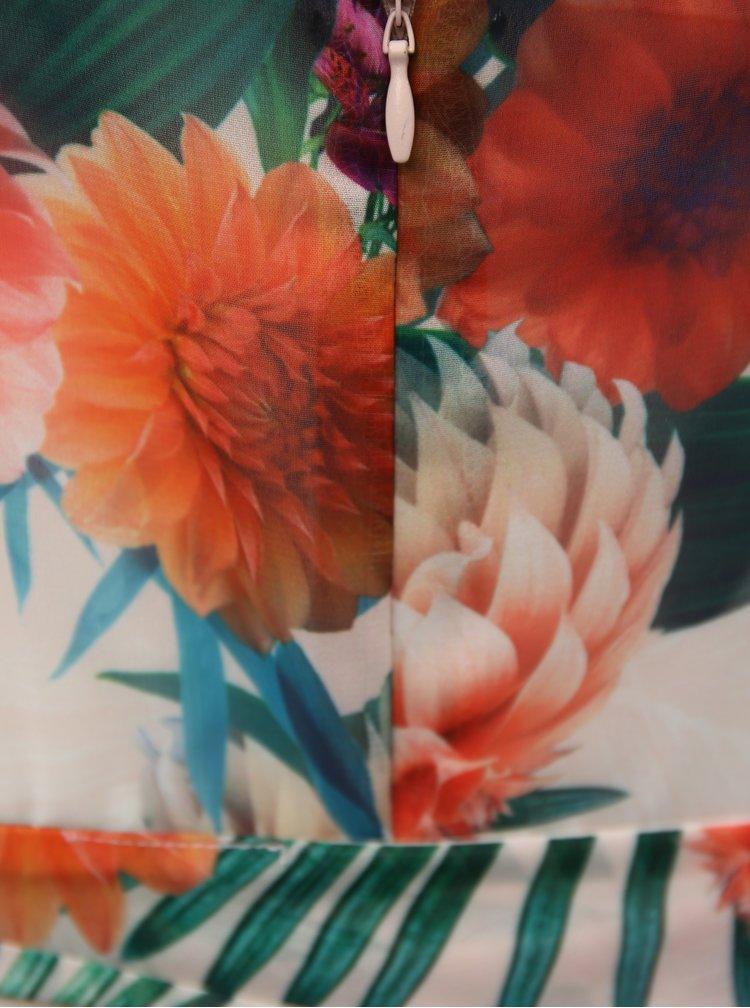 Červeno-krémové květované maxišaty s páskem Billie & Blossom