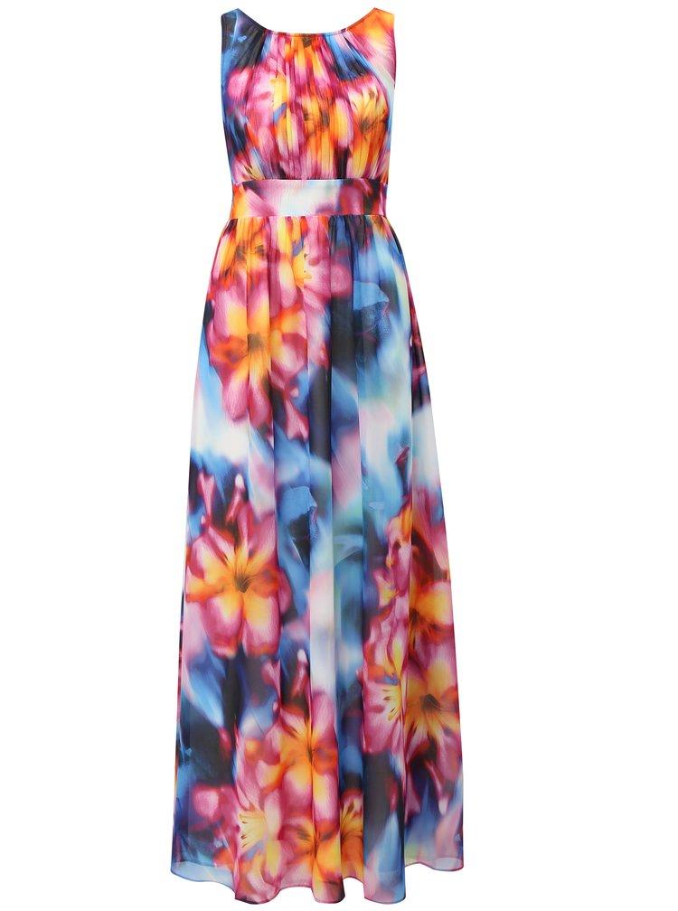Modro-růžové maxišaty s plisovaným topem Dorothy Perkins