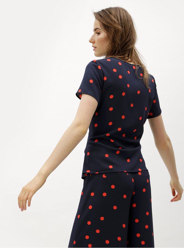 Červeno-modrá halenka se zavazováním ONLY Michelle