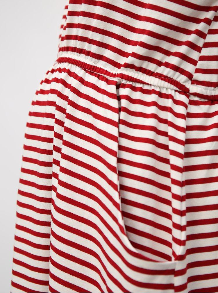 Bílo-červené pruhované těhotenské šaty s kapsami Dorothy Perkins Maternity