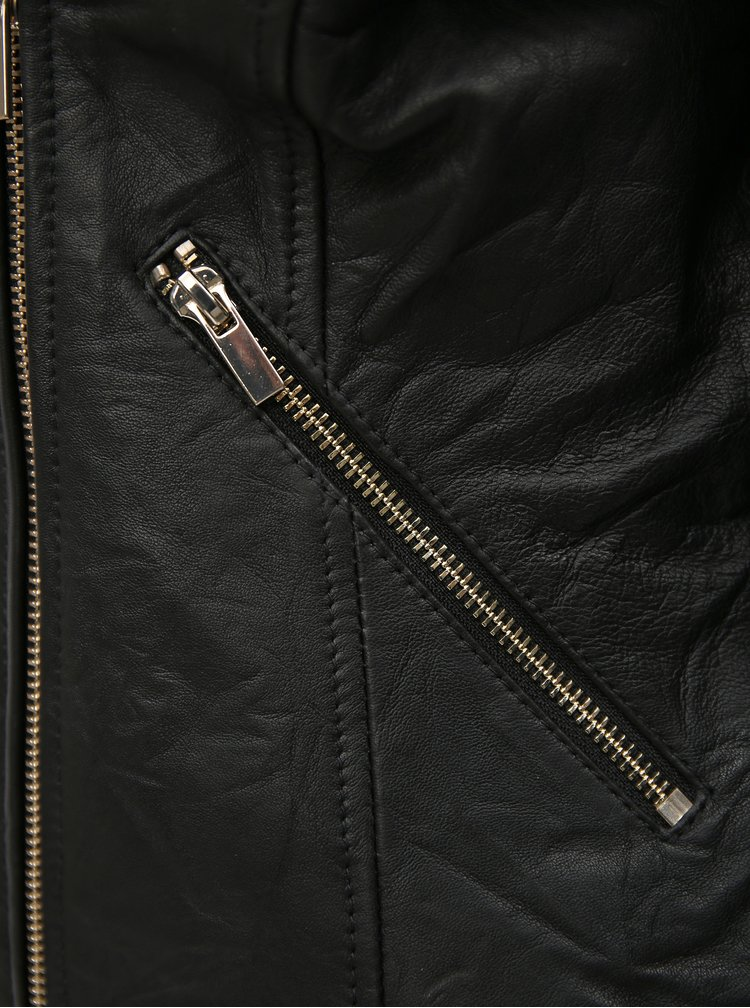 Černý kožený křivák VILA Becky