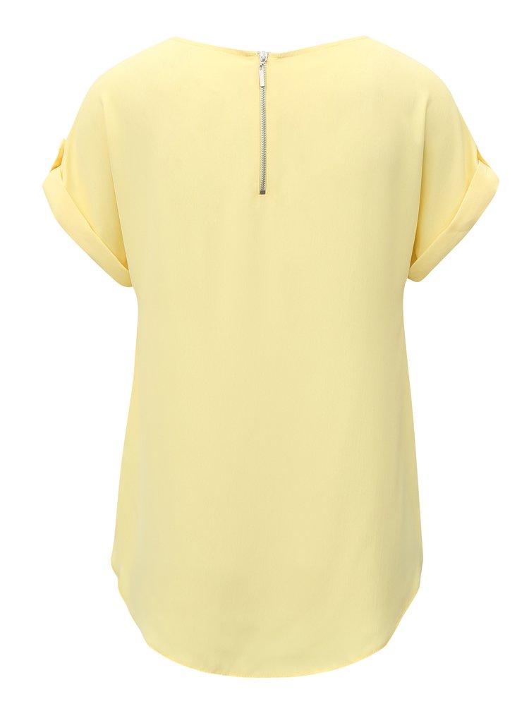 Žlté basic tričko so zipsom na chrbte Dorothy Perkins