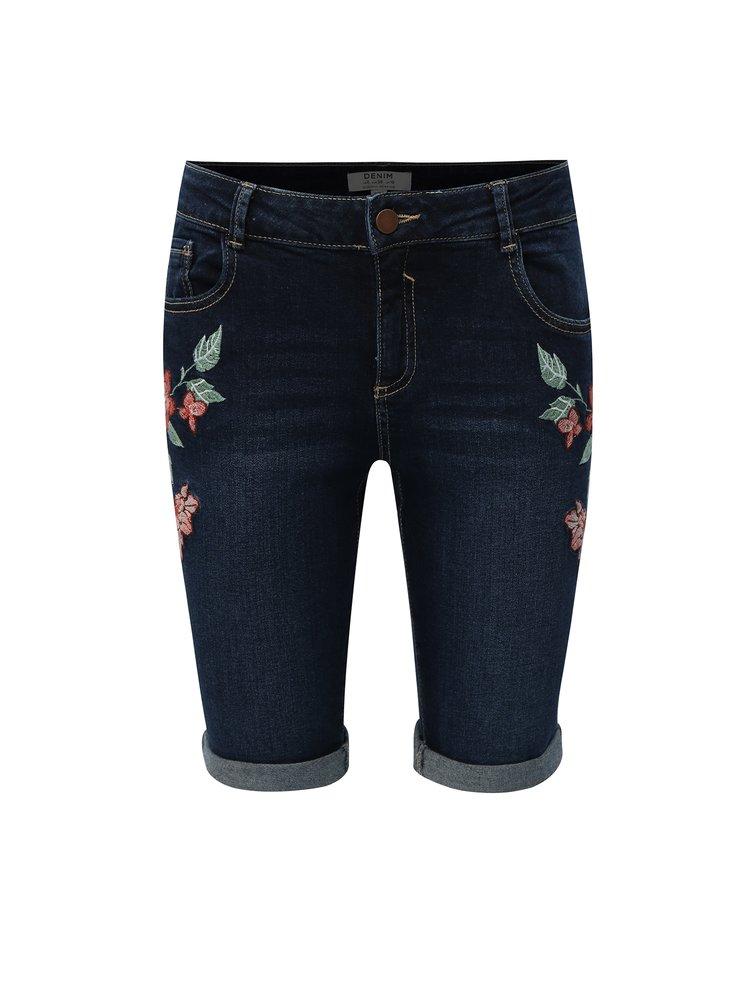 Tmavě modré džínové kraťasy s výšivkou Dorothy Perkins