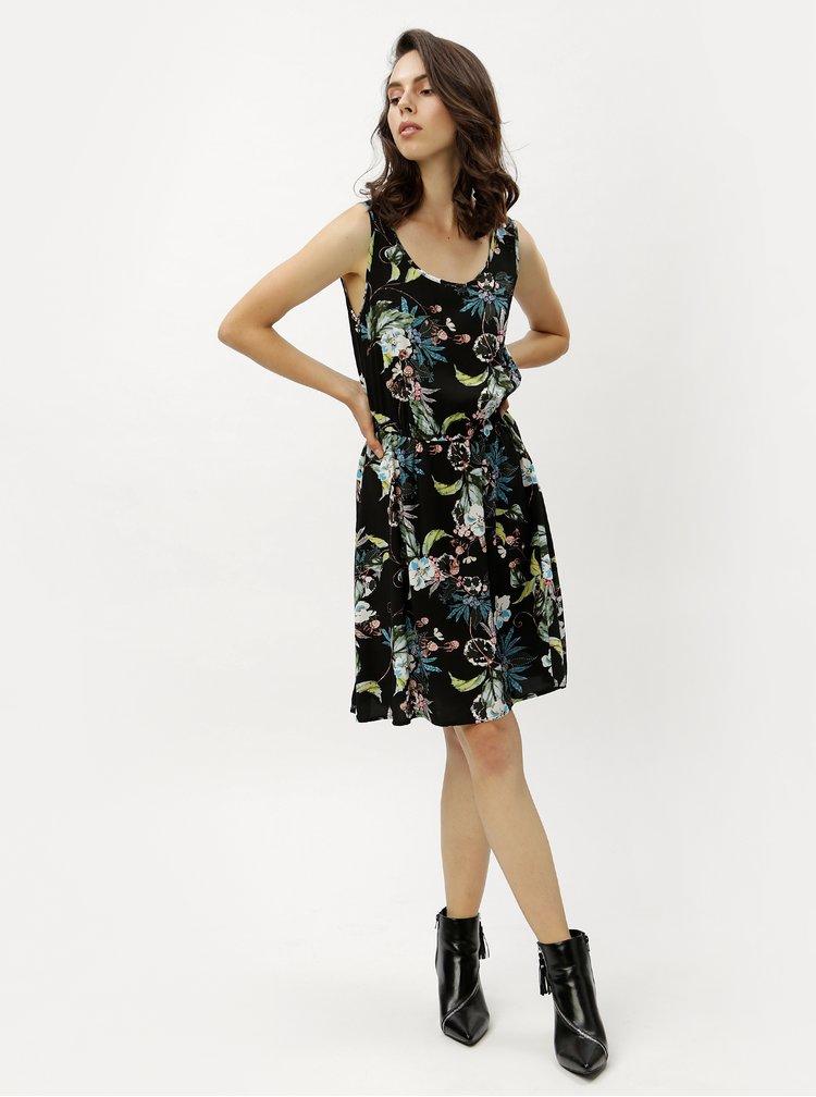 Černé květované šaty ONLY