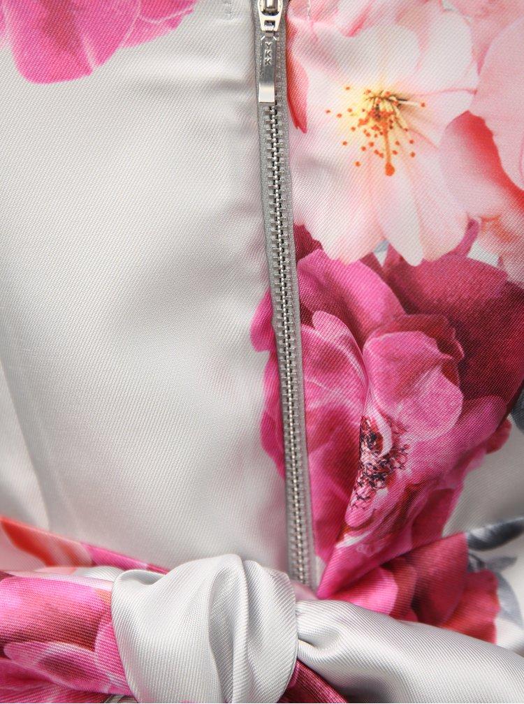 Světle šedé květované midišaty se zavazováním Dorothy Perkins