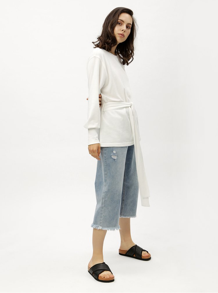 Bílá dlouhá mikina s páskem Jacqueline de Yong