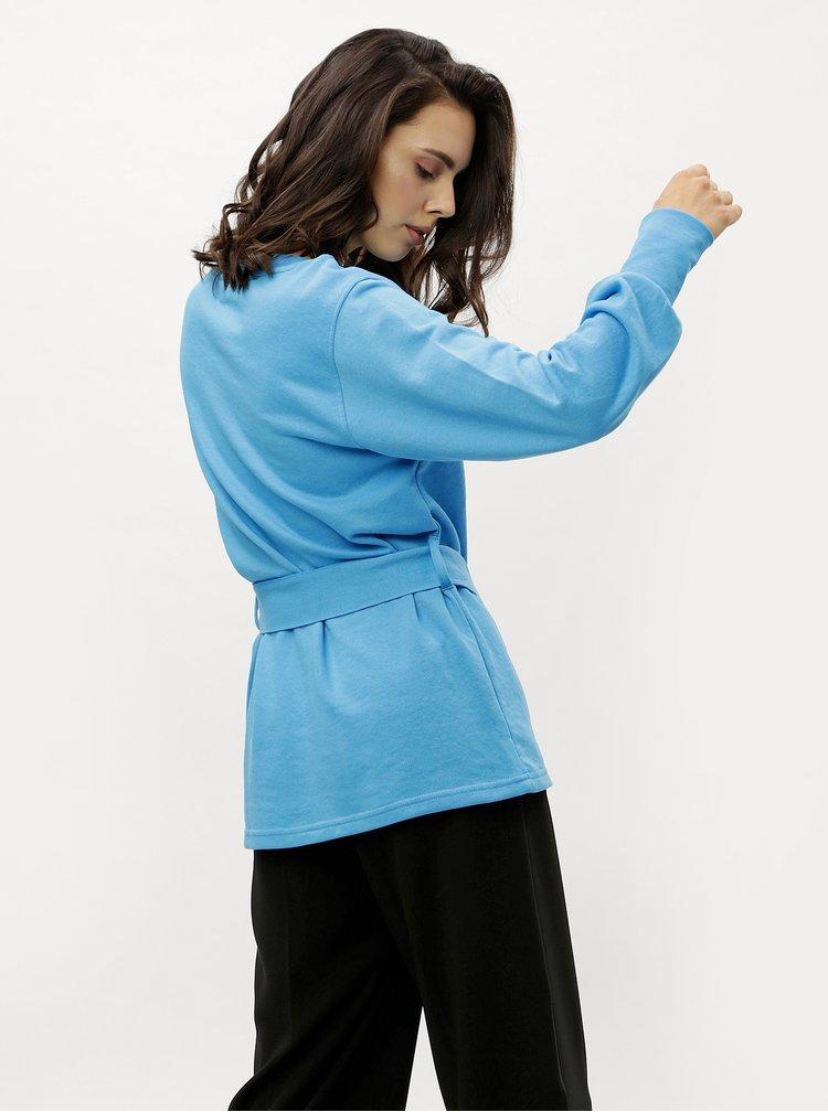 Bluza sport albastra lunga cu cordon Jacqueline de Yong