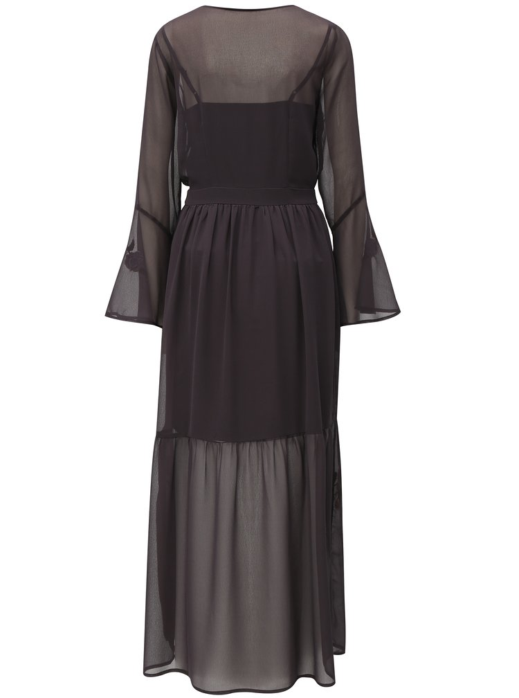Rochie maxi gri inchis cu broderie Dorothy Perkins