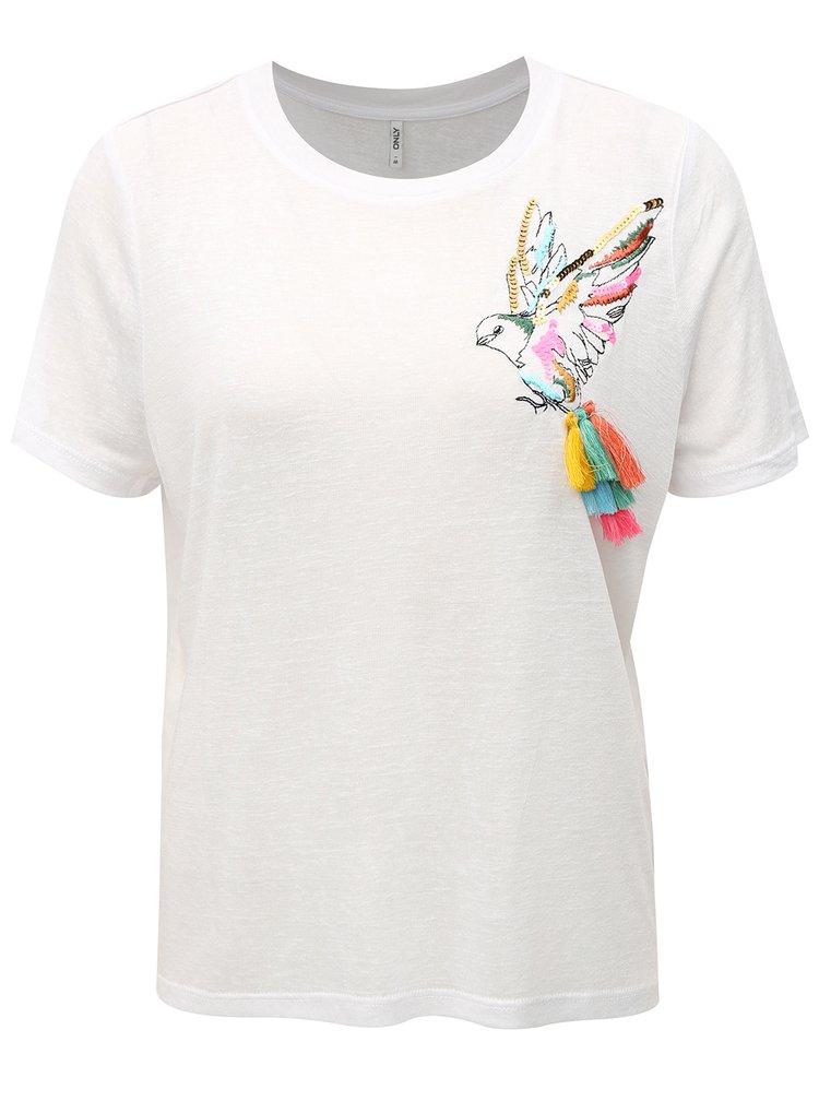 Bílé tričko s výšivkou a střapci ONLY