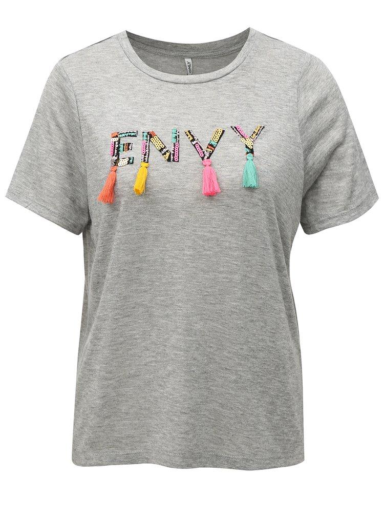 Šedé žíhané tričko s flitry a střapci ONLY
