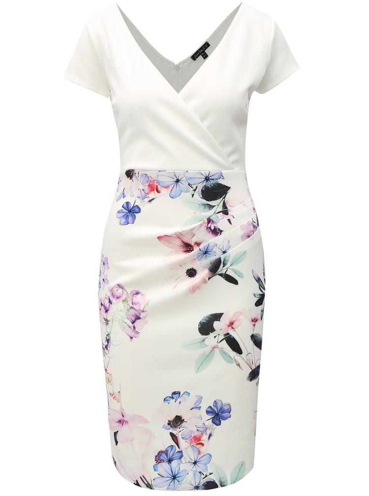 Bílé květované pouzdrové šaty Dorothy Perkins