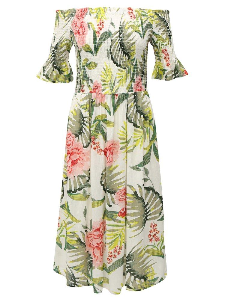Zeleno-bílé šaty s odhalenými rameny Dorothy Perkins