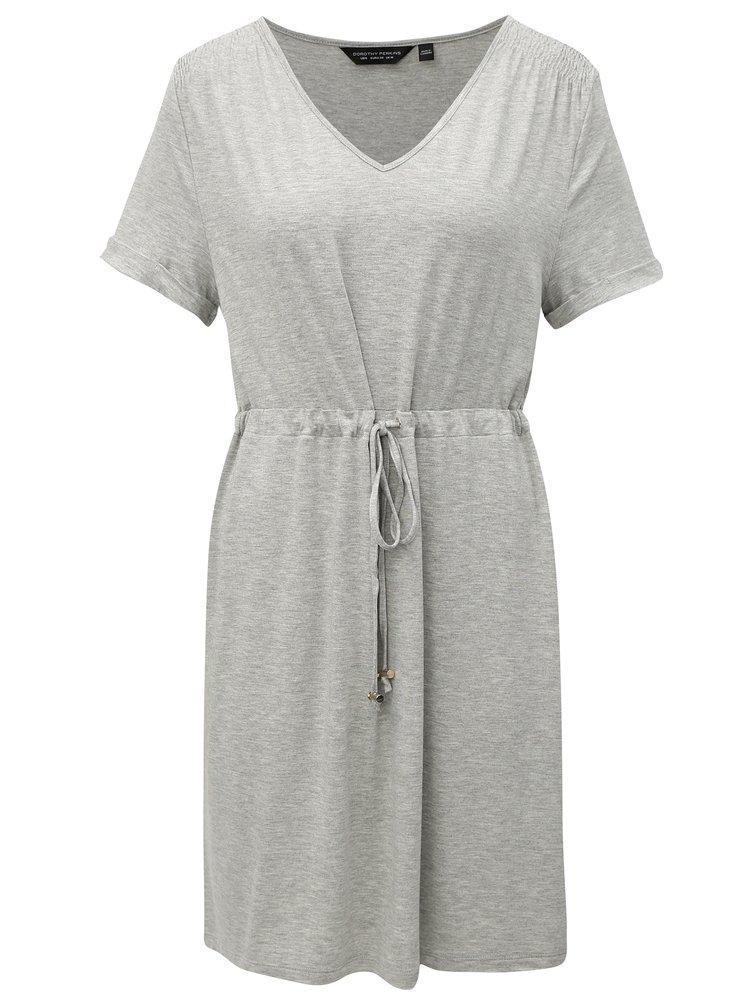 Šedé žíhané šaty se zavazováním Dorothy Perkins