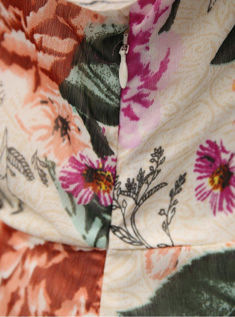 Krémové květované maxišaty s volány Dorothy Perkins