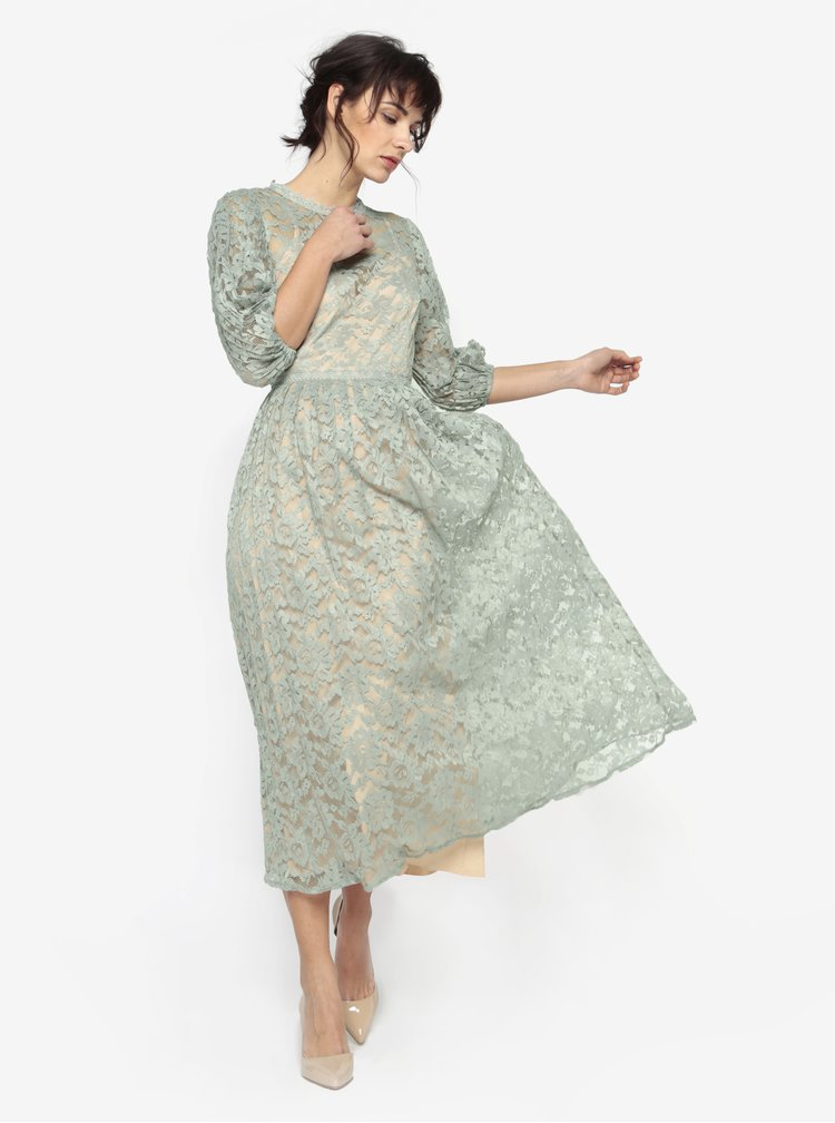 Rochie lunga verde deschis din dantela cu pliseuri - Little Mistress