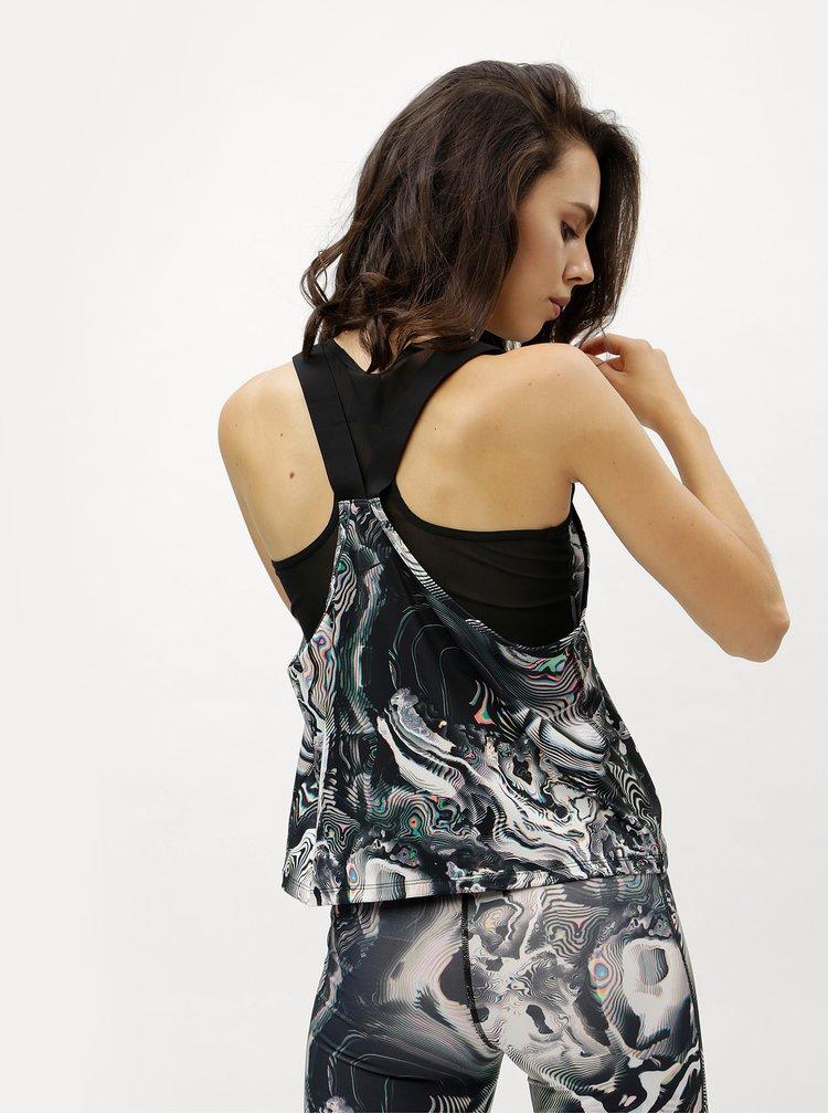 Bílo-černé dámské funkční tílko Nike Tank Coral Print
