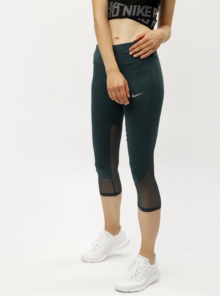 Petrolejové dámské funkční 3/4 legíny Nike Racer Cool Crop