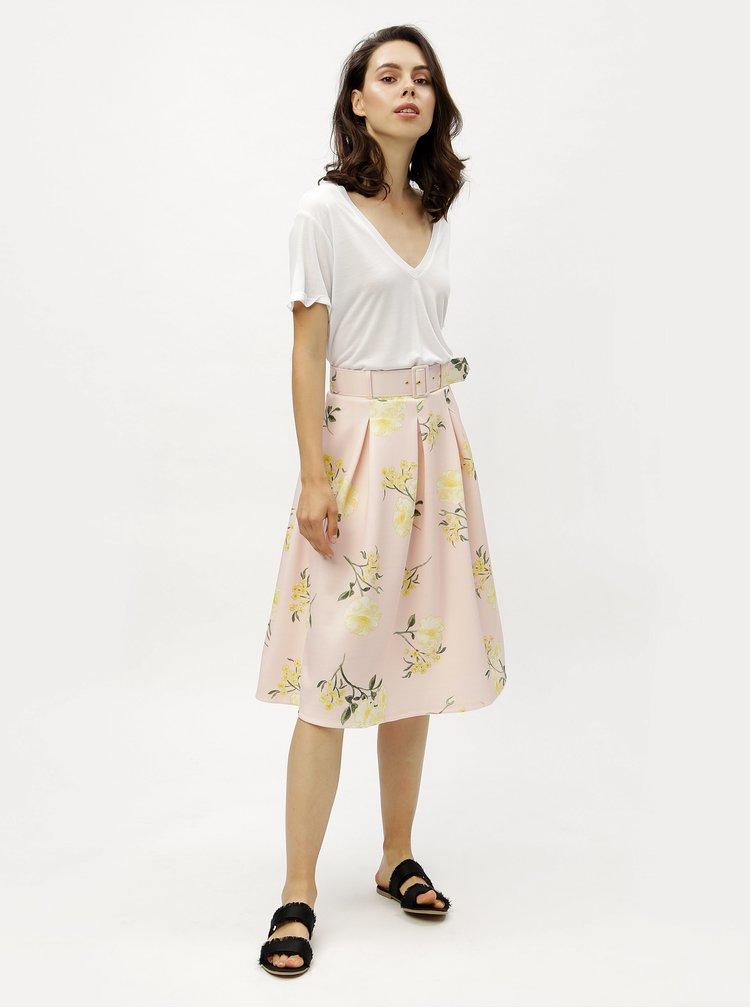 Světle růžová květovaná sukně s páskem Miss Selfridge