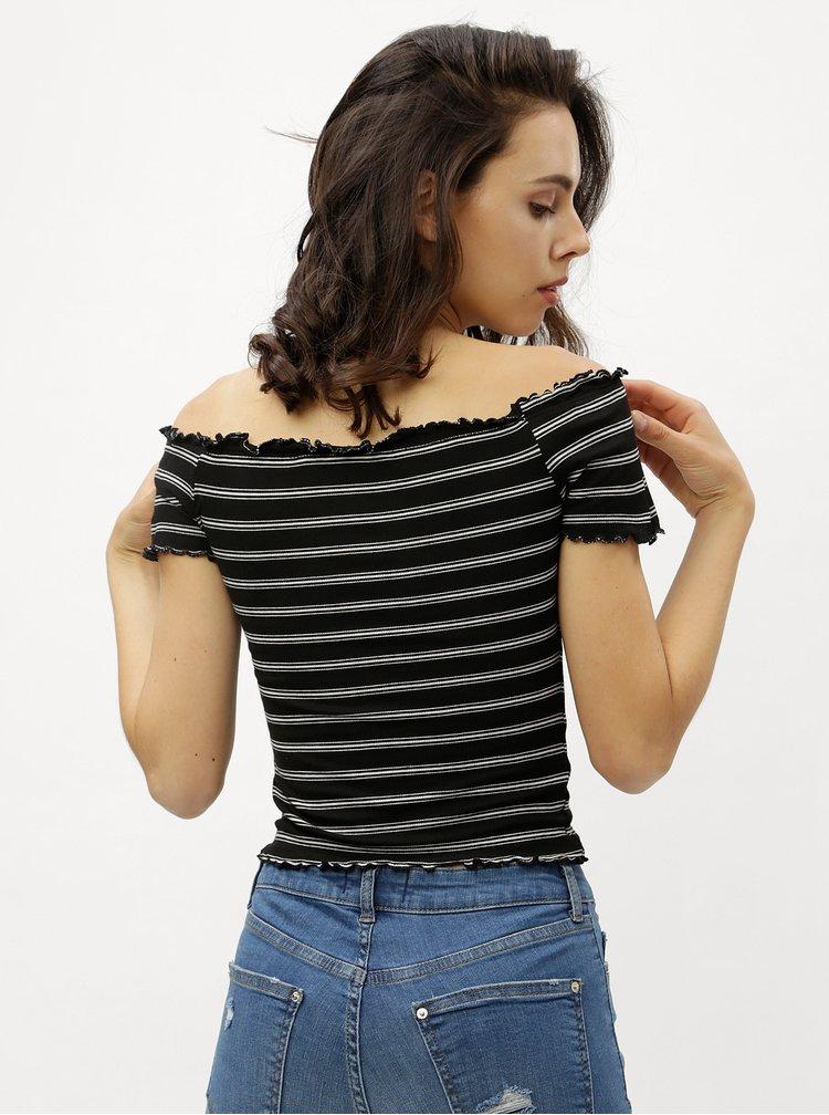 Černý pruhovaný crop top s odhalenými rameny Miss Selfridge