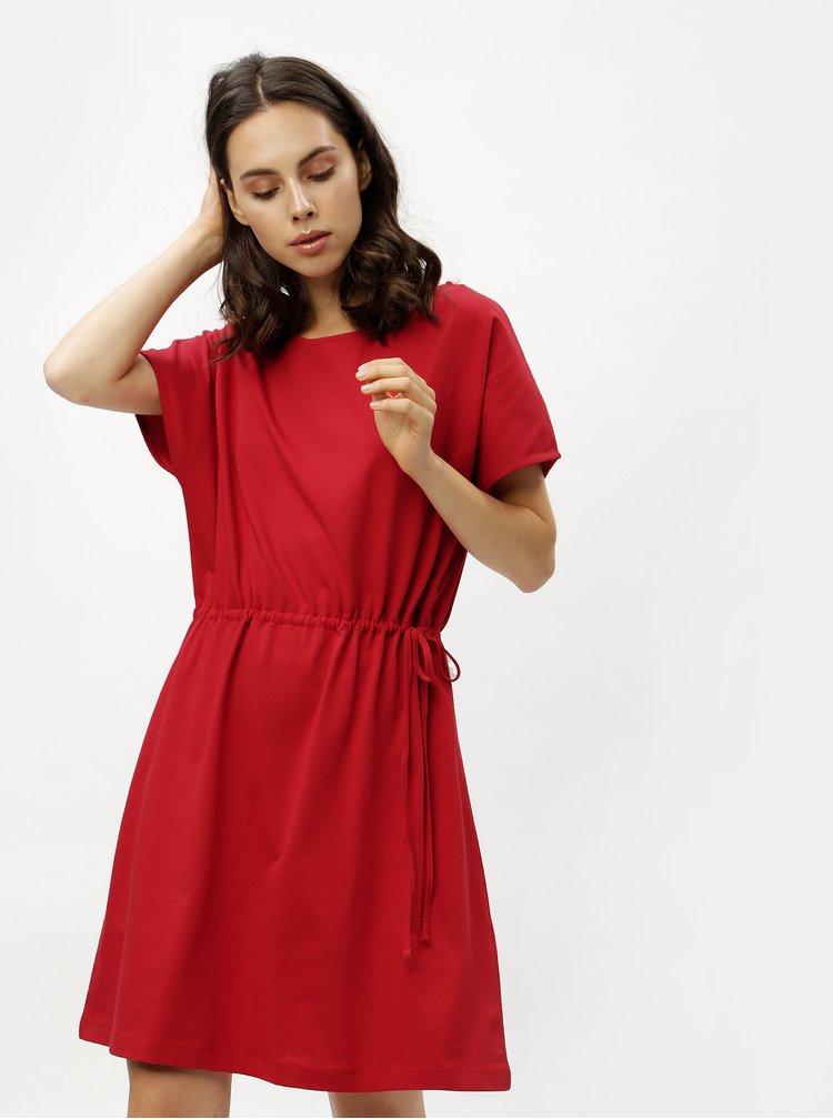 Červené volné šaty se stahováním v pase ZOOT