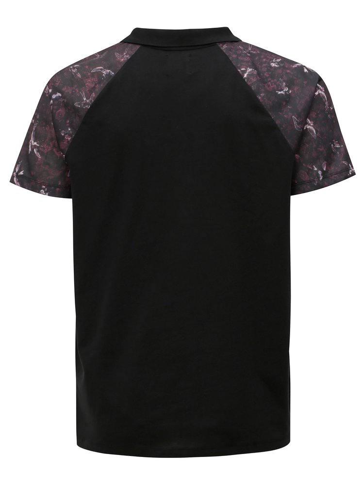Fialovo-černé polo tričko se vzorovanými rukávy Burton Menswear London