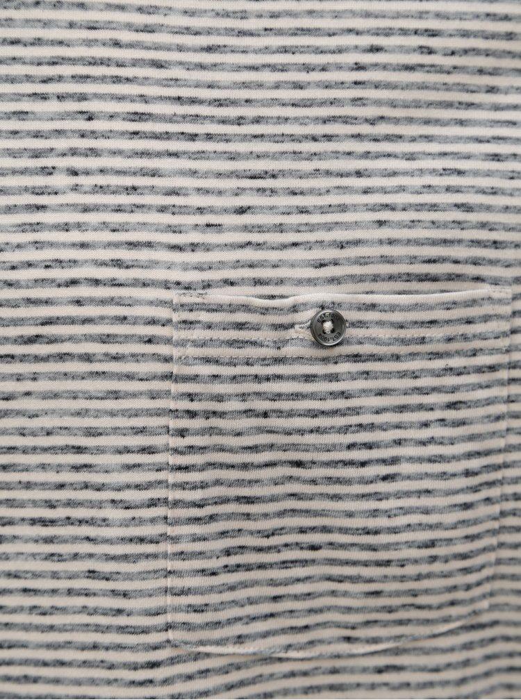 Krémovo-šedé pruhované tričko s dlouhým rukávem Burton Menswear London