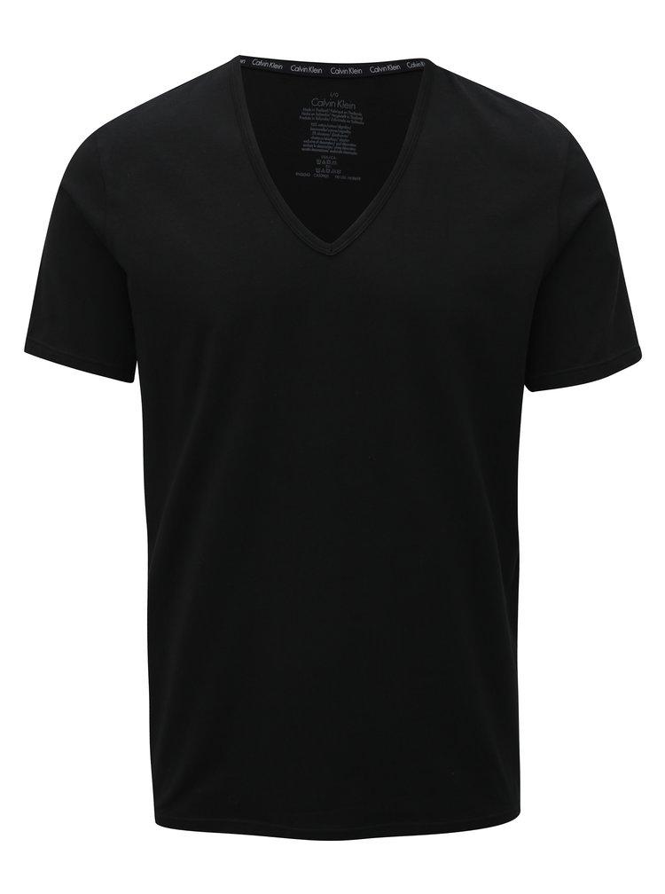 Sada dvou pánských černých slim fit triček pod košili Calvin Klein