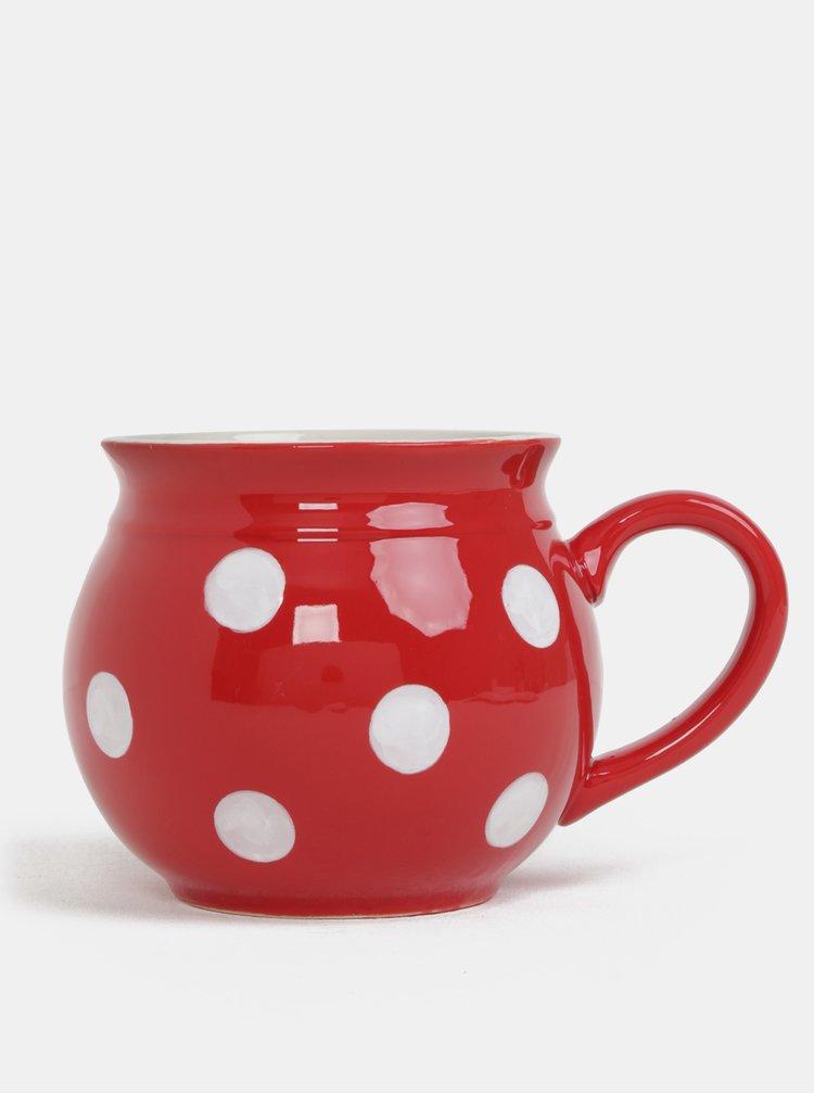 Červený keramický hrnek s puntíky Dakls