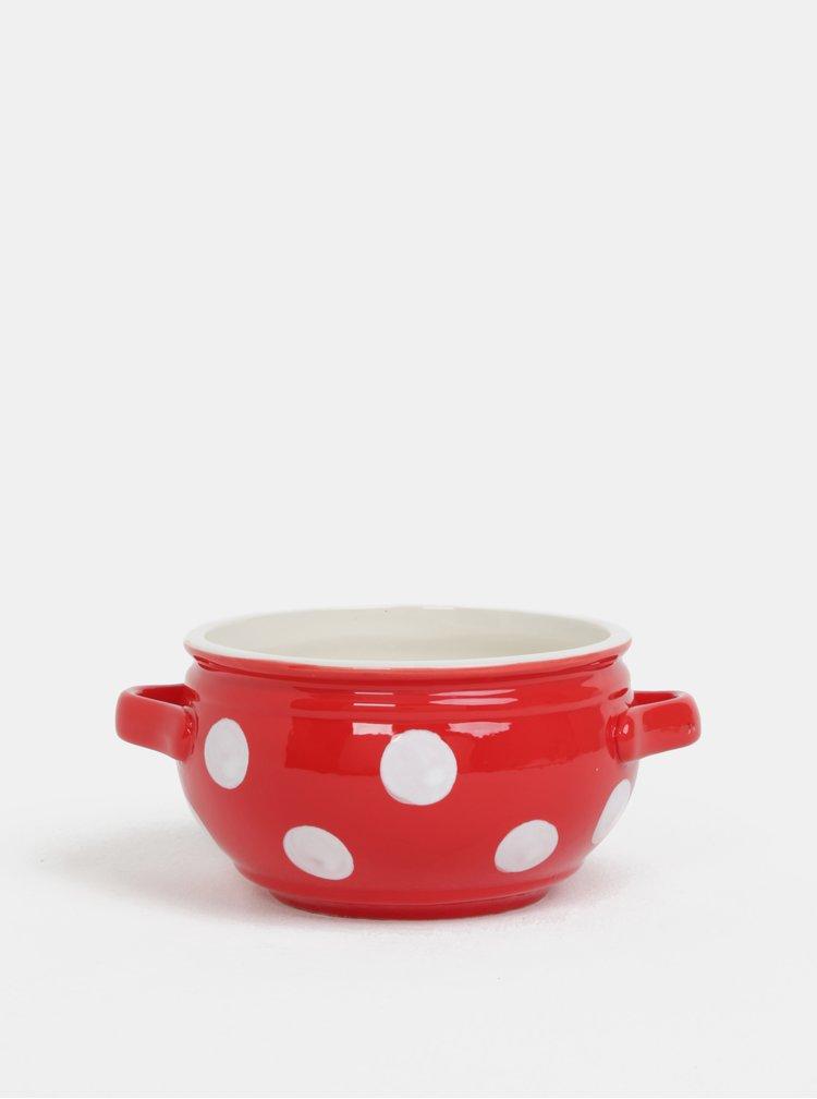 Červená keramická miska s puntíky Dakls