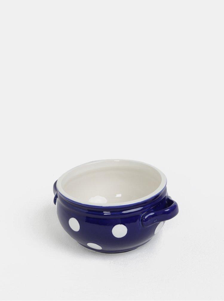 Modrá keramická miska s puntíky Dakls