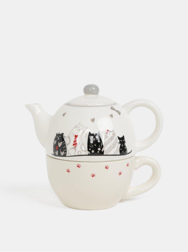 Krémová sada hrnečku s konvicí na čaj s motivem koček Dakls