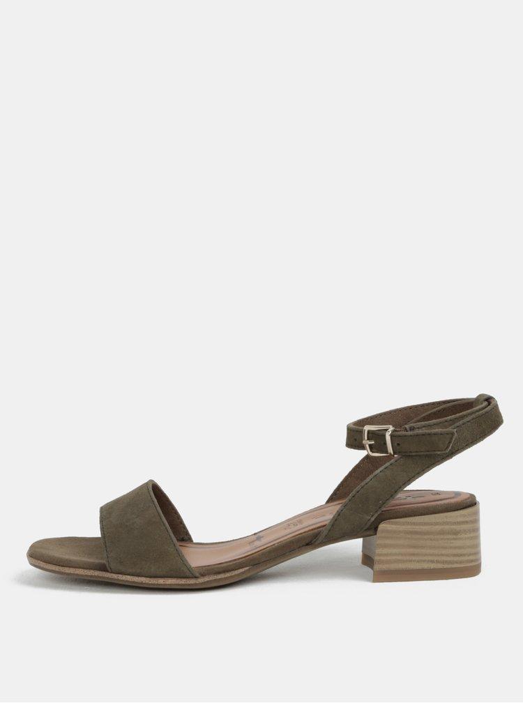 Khaki semišové sandálky Tamaris