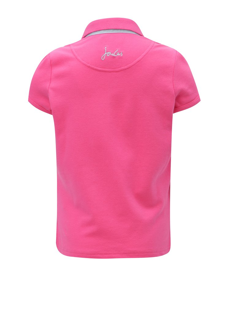 Růžové holčičí polo tričko s nášivkami psů Tom Joule Welly