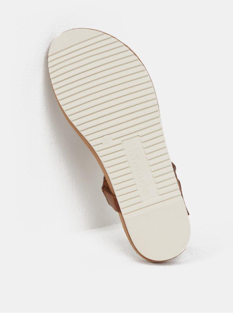 Hnědé sandály s detaily ve zlaté barvě Tamaris